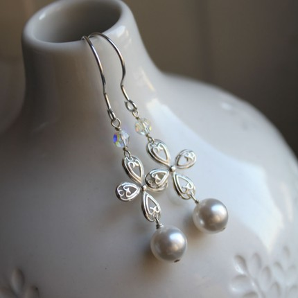bridal pearl and sterling silver drop earrings
