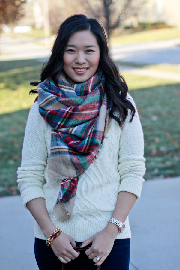 Quilted Coat and Plaid Scarf