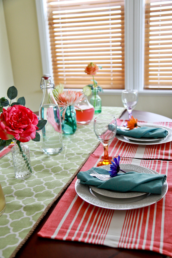 The Items Specifically Purchased At Ross Dress For Less Are Green Table Runner Pink Striped Placemats Wine Or Water Gl And All Of On
