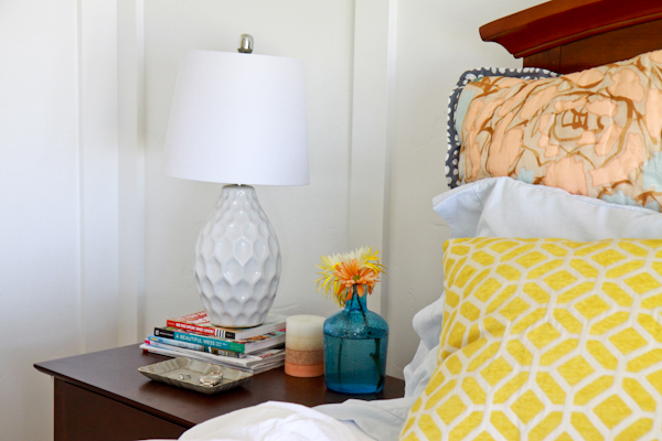 The Items Specifically Purchased At Ross Dress For Less Are The White Lamp,  Striped Candle (smells SO Good), Blue Vase, And Yellow Pillow On Bed.