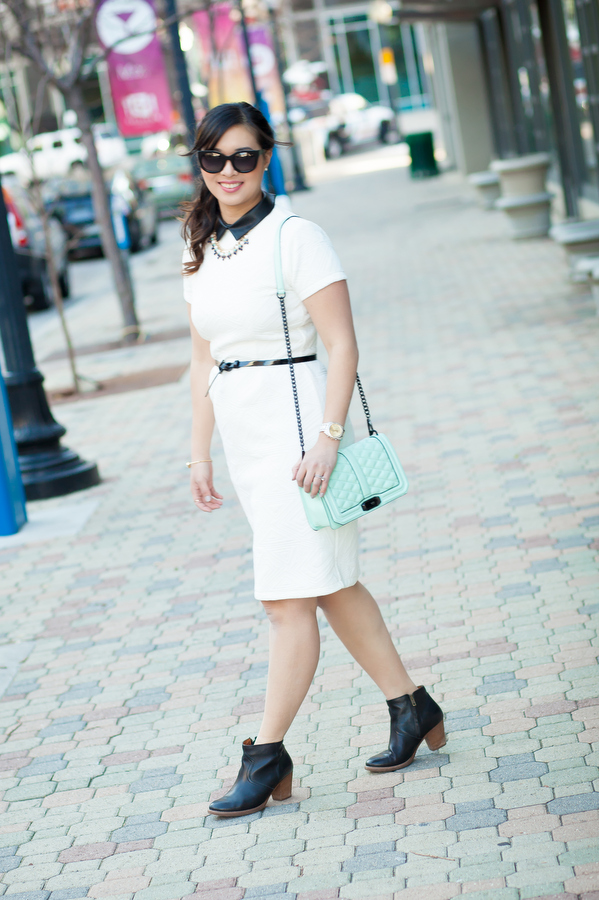 Wearing Black and White with a Pop of Mint
