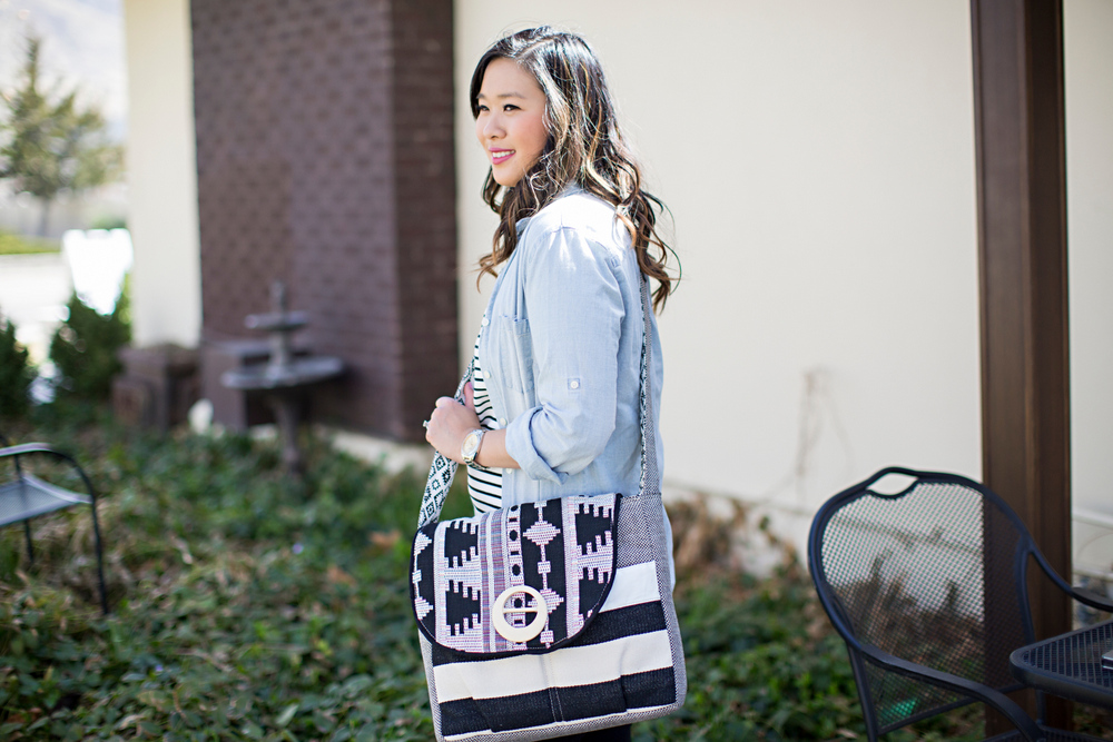 fashion blogger sandy a la mode wearing sage and harper