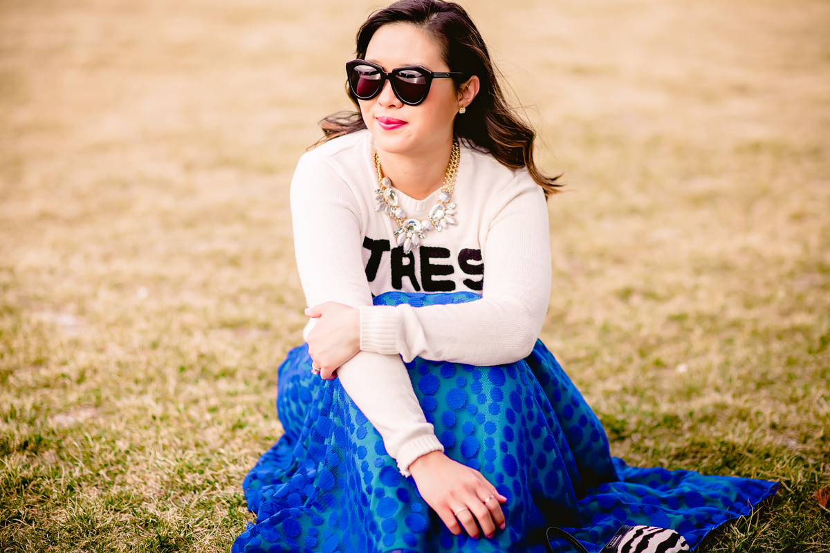 Sandy a la Mode | Fashion Blogger Graphic Sweater and LuLaRoe Cobalt Skirt
