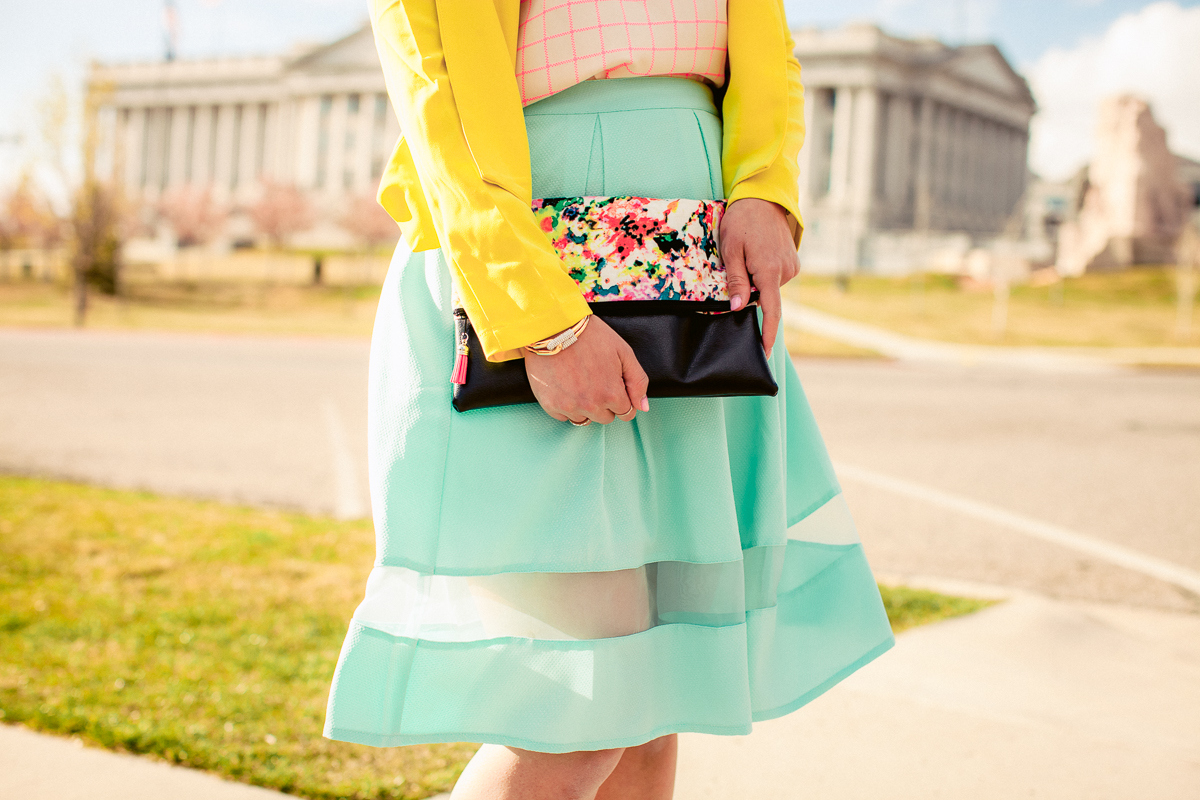 Sandy a la Mode | Colorful outfit with Lacy Lou Designs Clutch