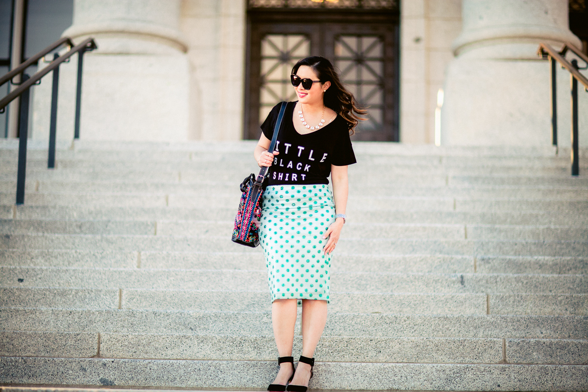 Sandy a la Mode | Fashion Blogger Graphic Tee Polka Dot Skirt and Mus Bags