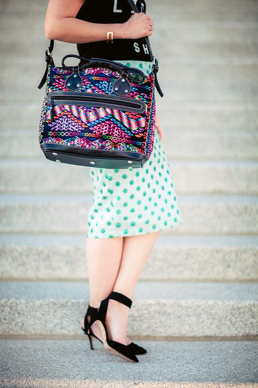 Sandy a la Mode | Fashion Blogger Graphic Tee Polka Dot Skirt and Mus Bags