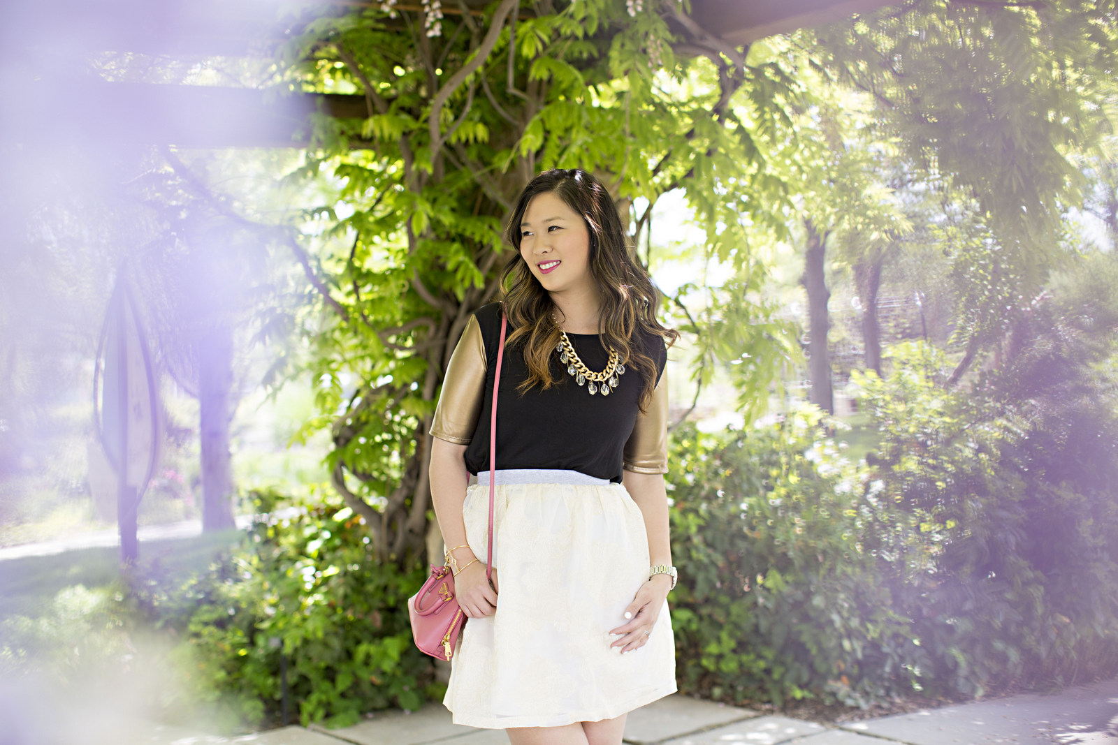 Sandy a la Mode | Fashion Blogger wearing Rhea Etcetera Skirt and Prada Bag