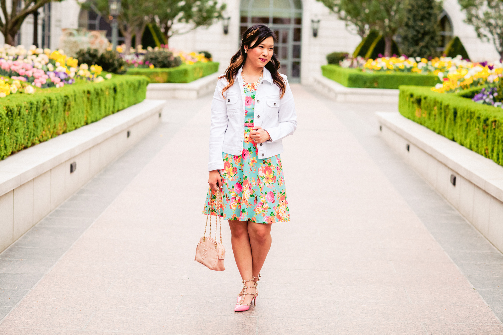 4fad7e99699 Floral Dress with White Denim Jacket | SandyALaMode
