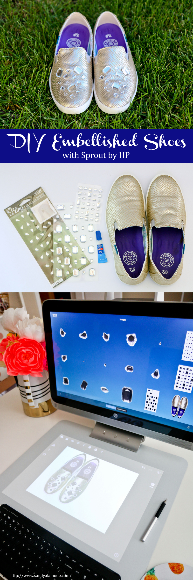 DIY Embellished Shoes with Sprout by HP