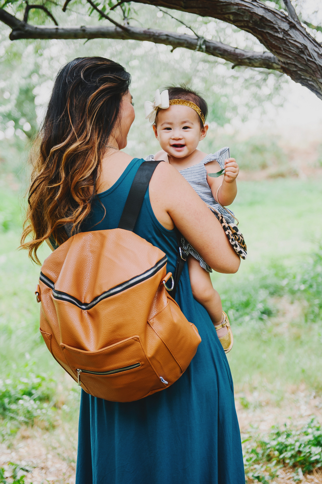 Leather diaper bag from Fawn Designs