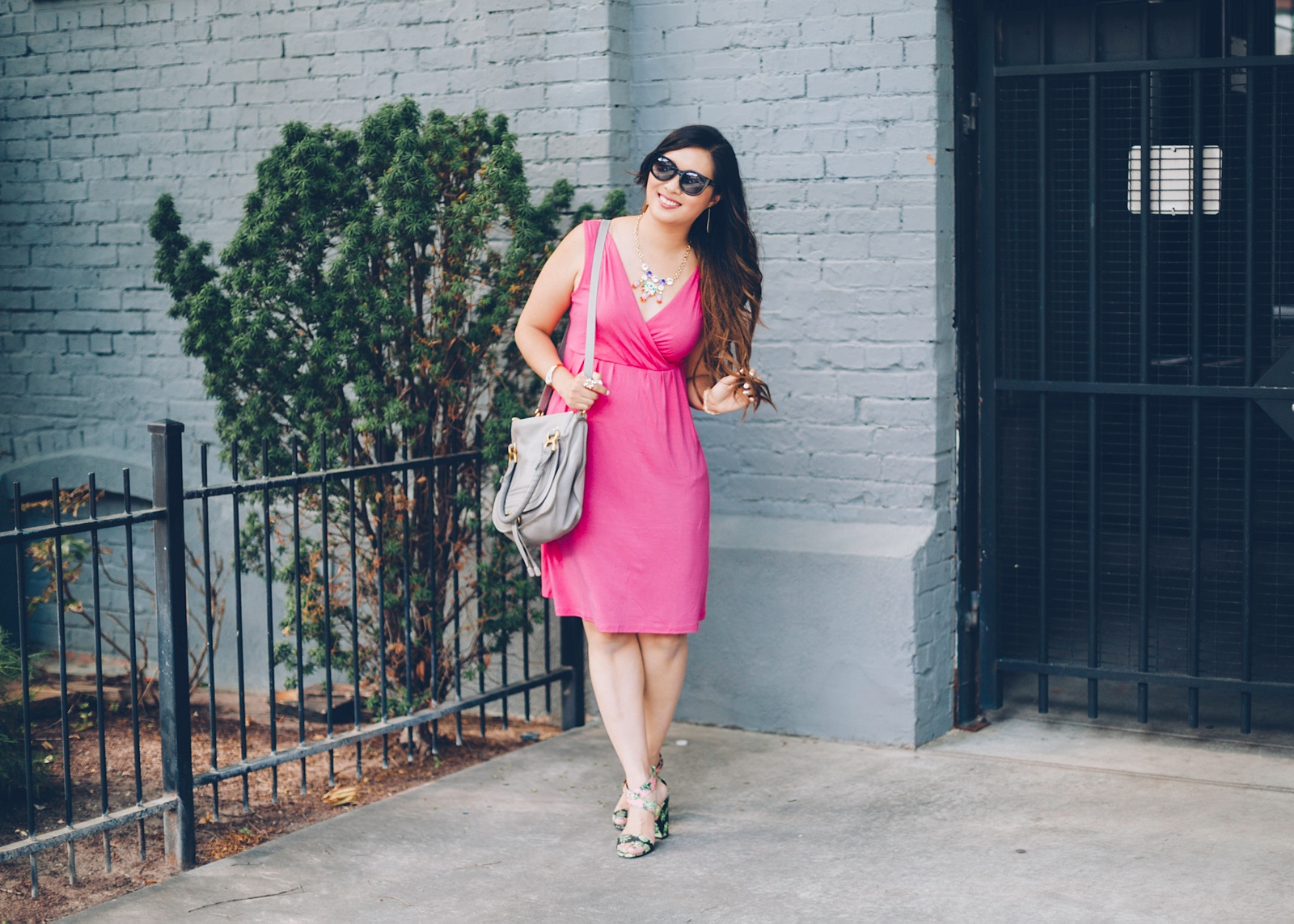 Sandy a la Mode | Fashion Blogger Hot Pink Dress and Pineapple Shoes