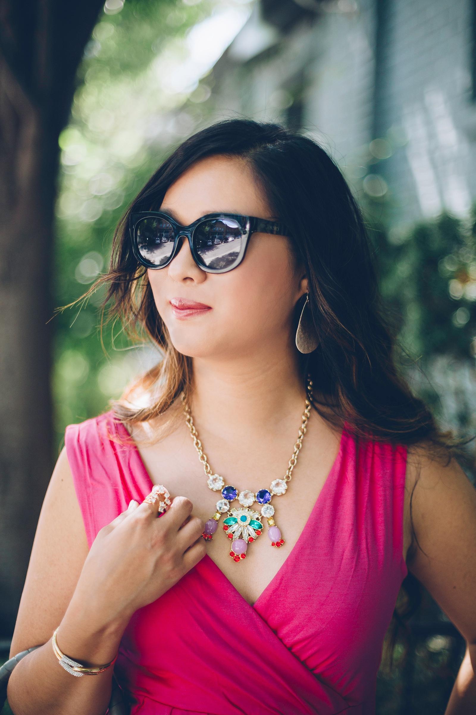 Sandy a la Mode   Fashion Blogger Hot Pink Dress and Pineapple Shoeswidth=