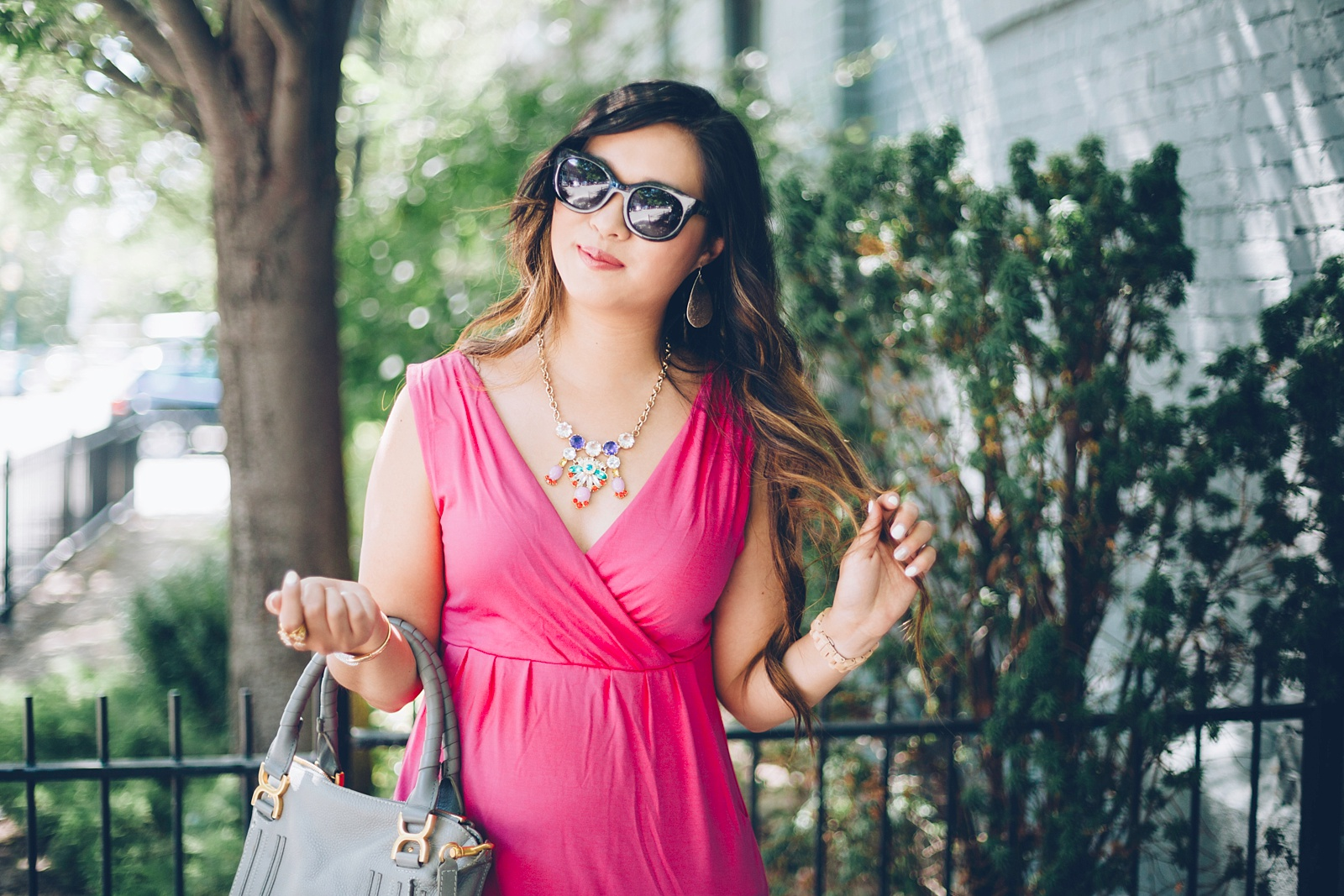 Sandy a la Mode   Fashion Blogger Hot Pink Dress and Pineapple Shoes