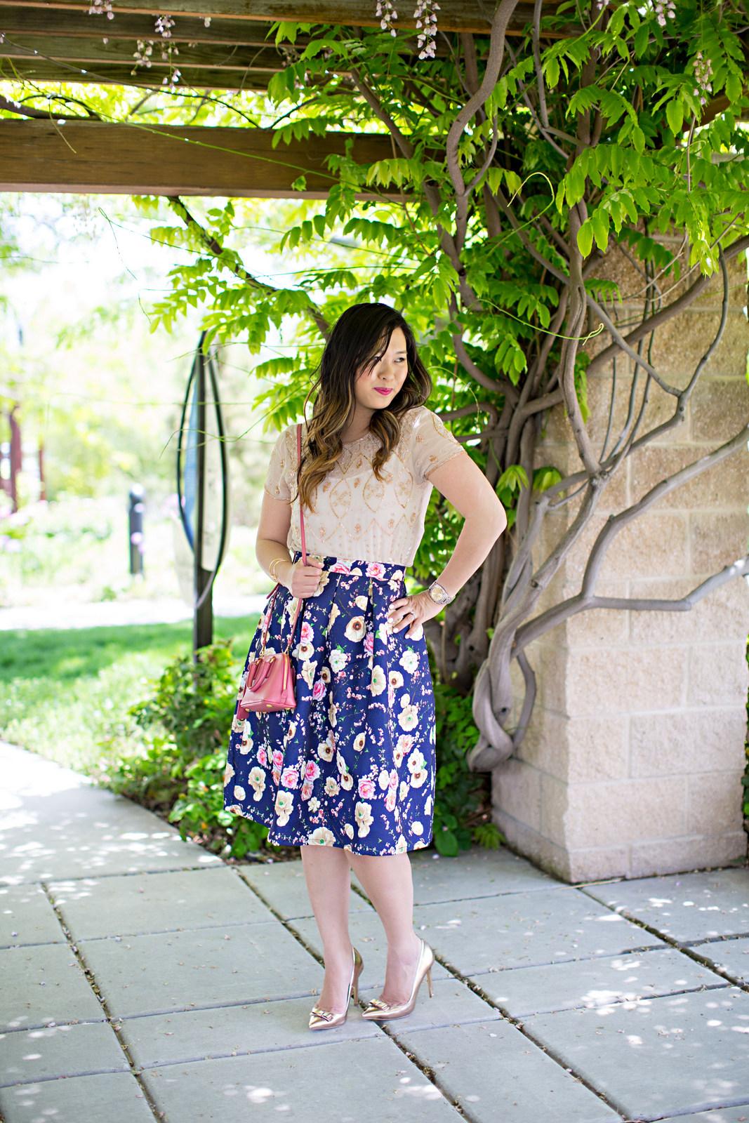 Embellished Top, Floral Skirt and Prada Bag