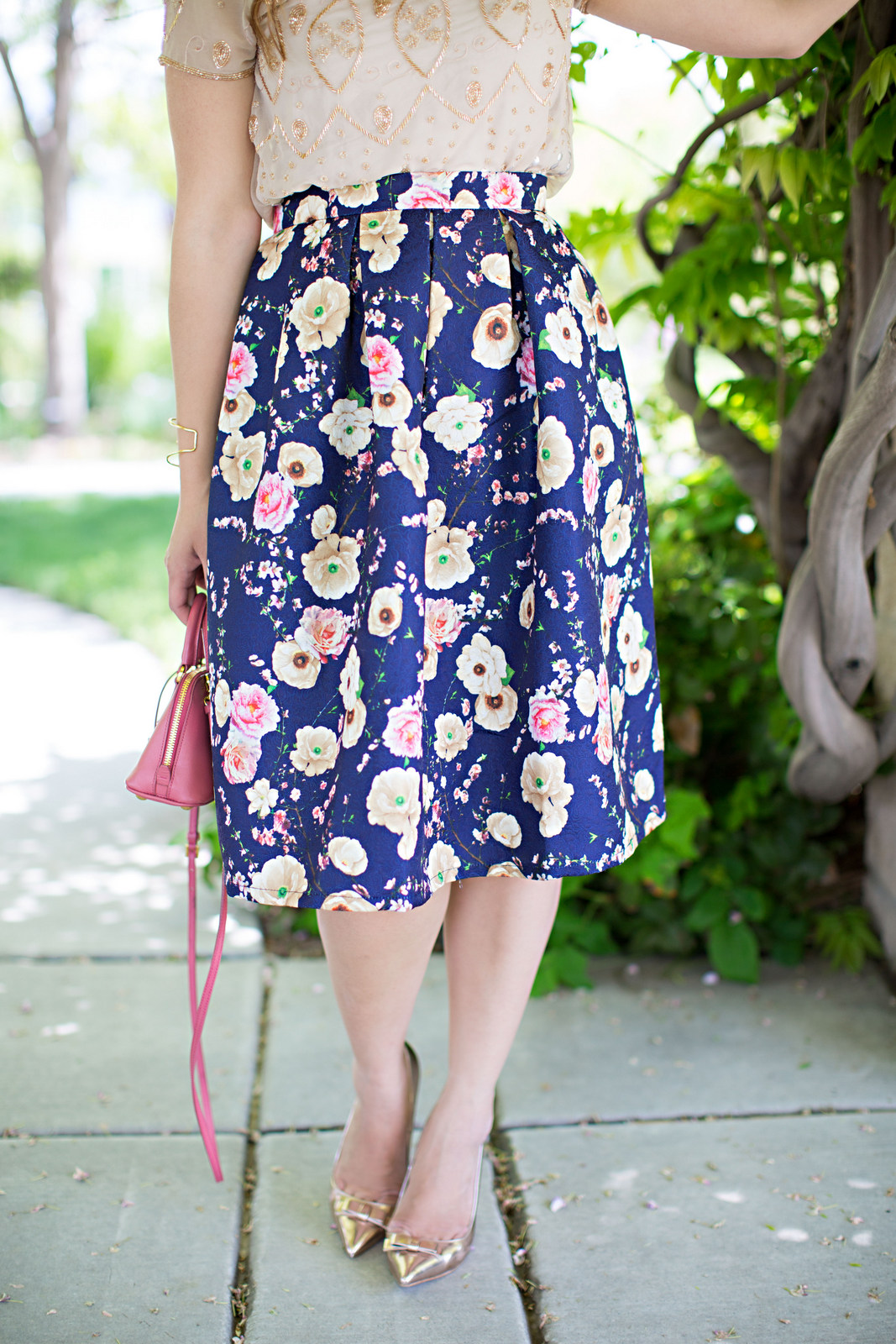 Floral skirt and rose gold shoes