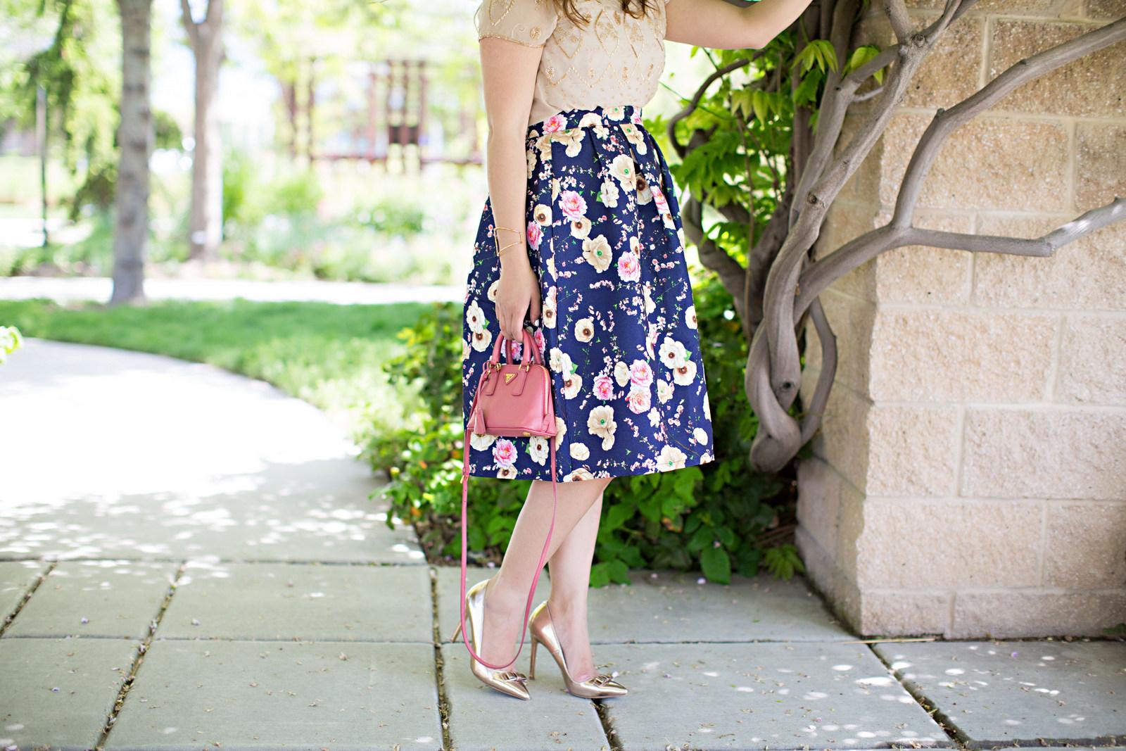Floral skirt and Prada bag