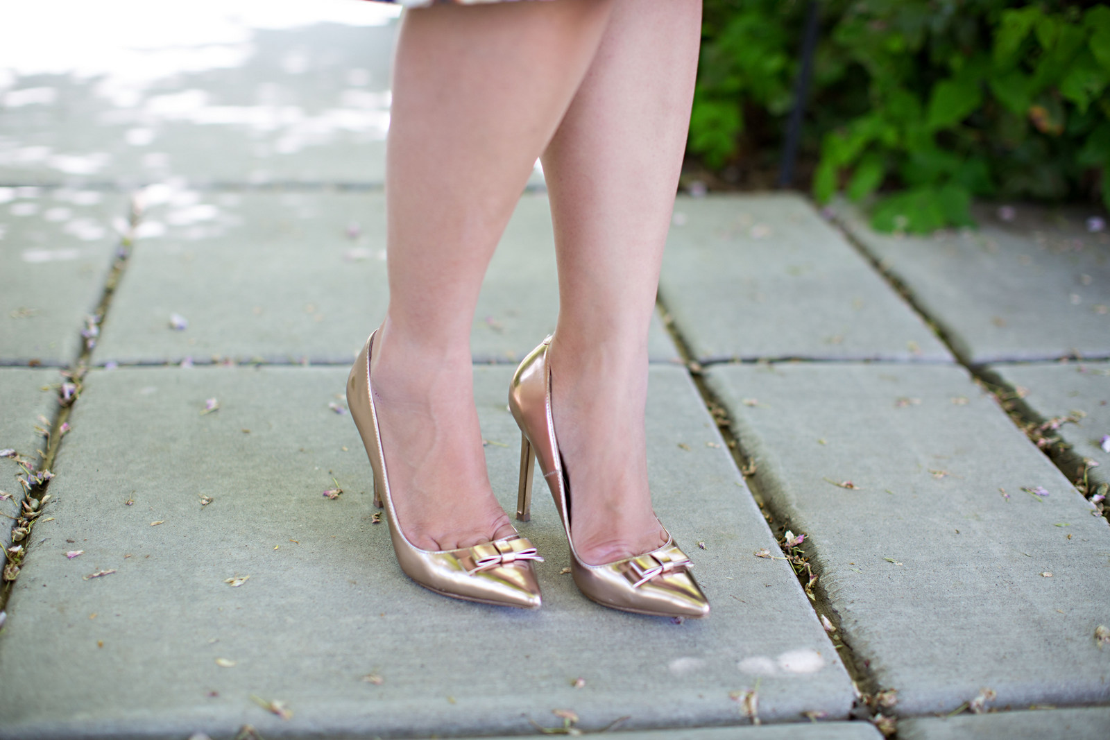 Rose gold bow heels