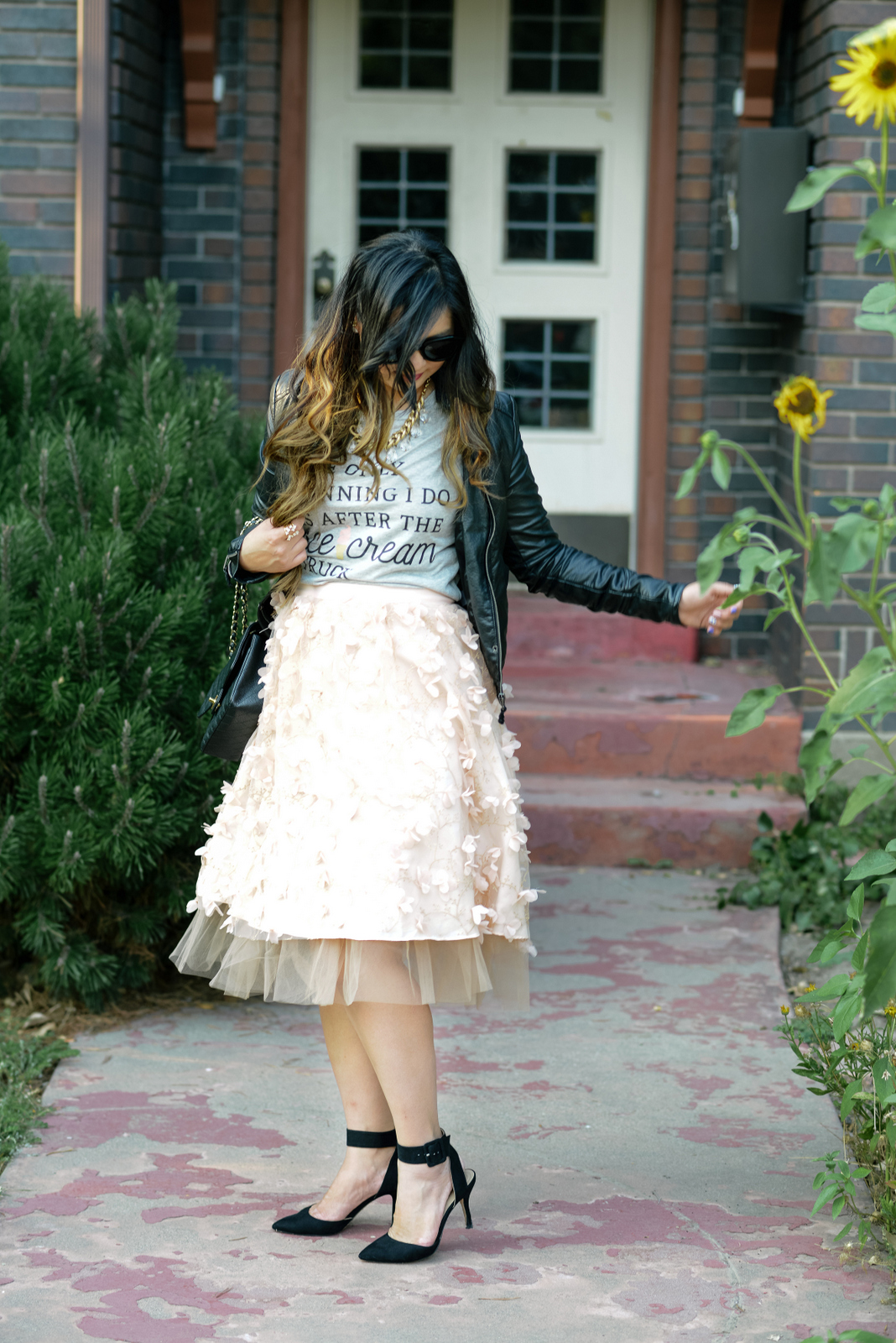 Ice Cream shirt and Anthropologie Flutter Skirt