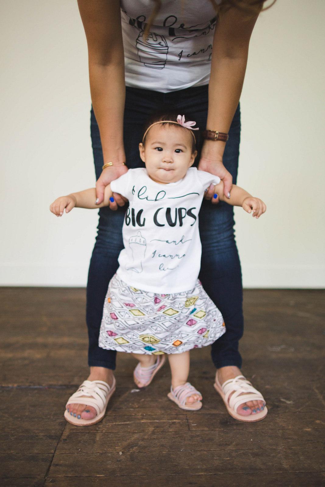 baby girl likes big cups tee