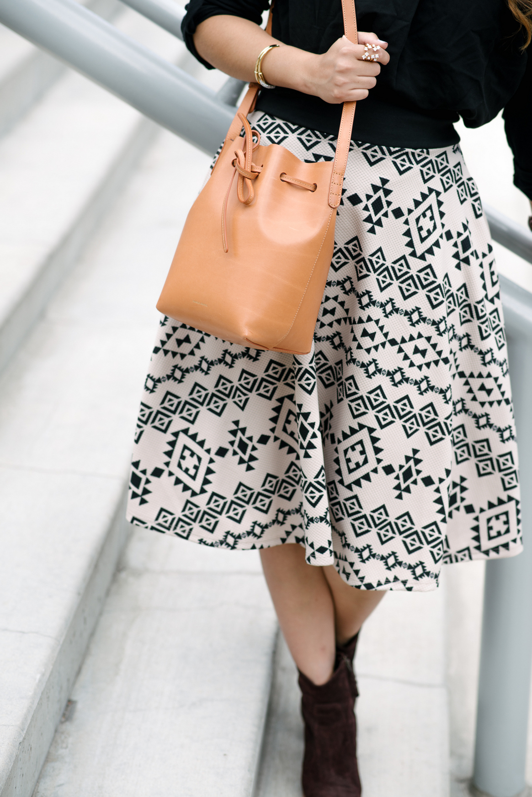 midi skirt and boots