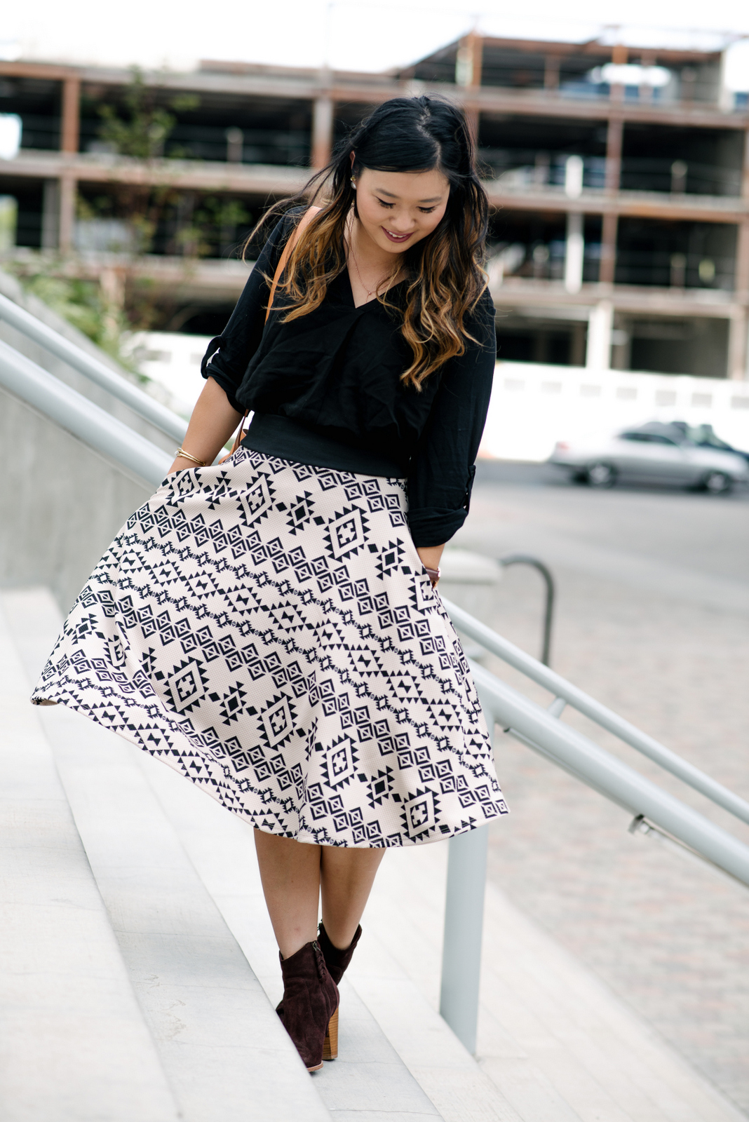 Wearing midi skirts for fall