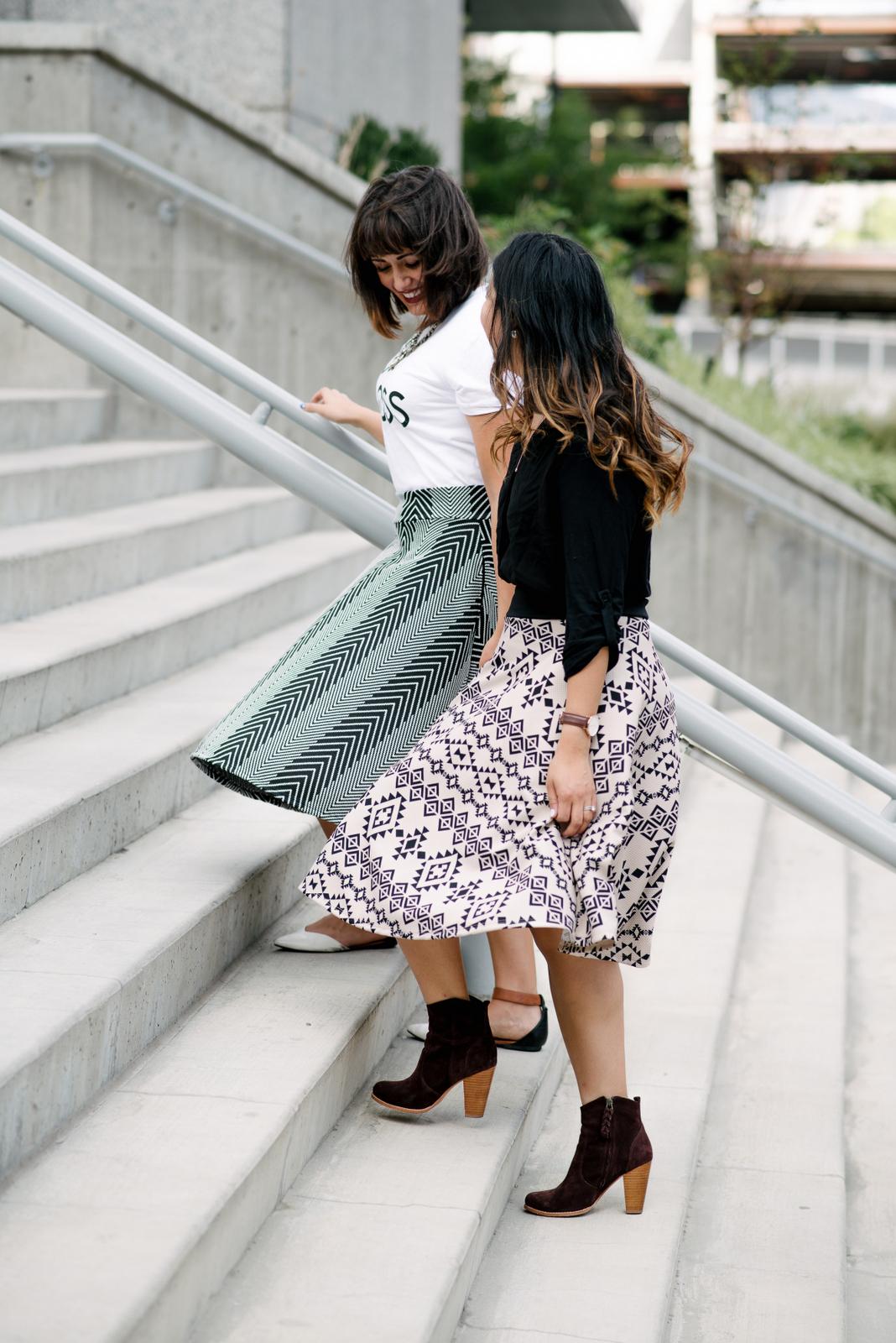 two ways to style midi skirts