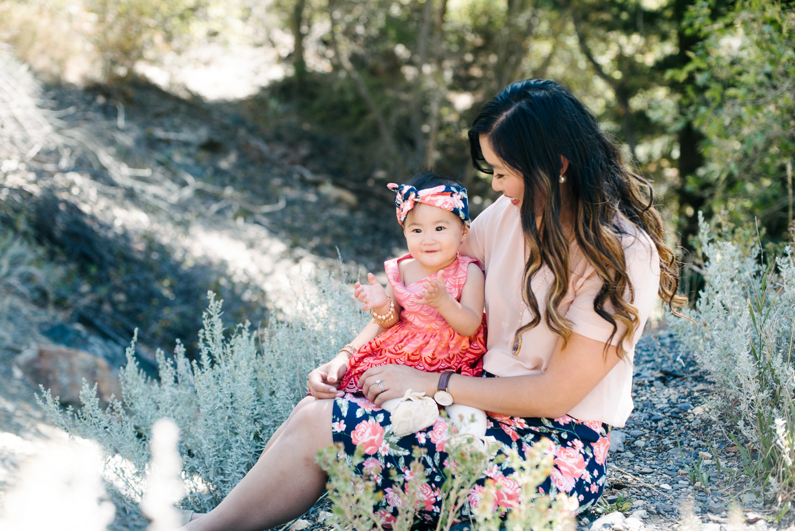 Mom and baby girl wearing pink florals