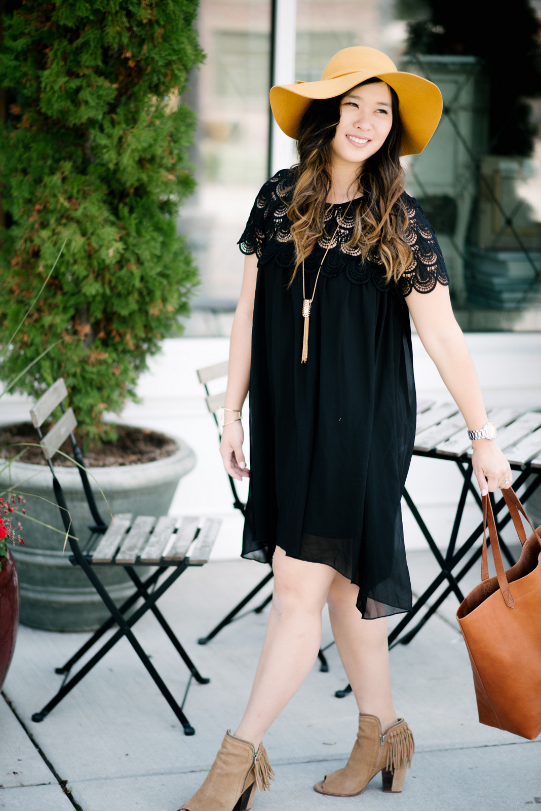 Little black dress and hat