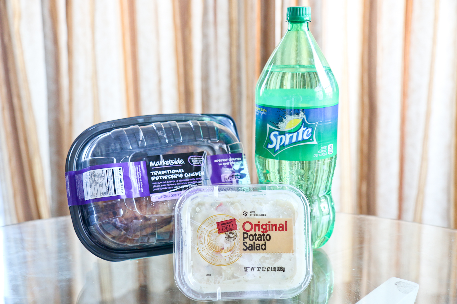 Meal with Sprite and Potato Salad