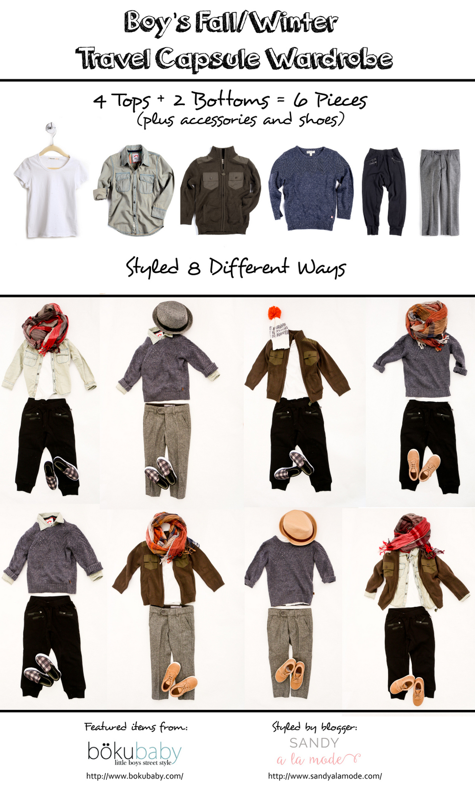 Boy's Fall/Winter Travel Capsule Wardrobe - 6 pieces, 8 different looks with BokuBaby clothing, styled by Sandy a la Mode