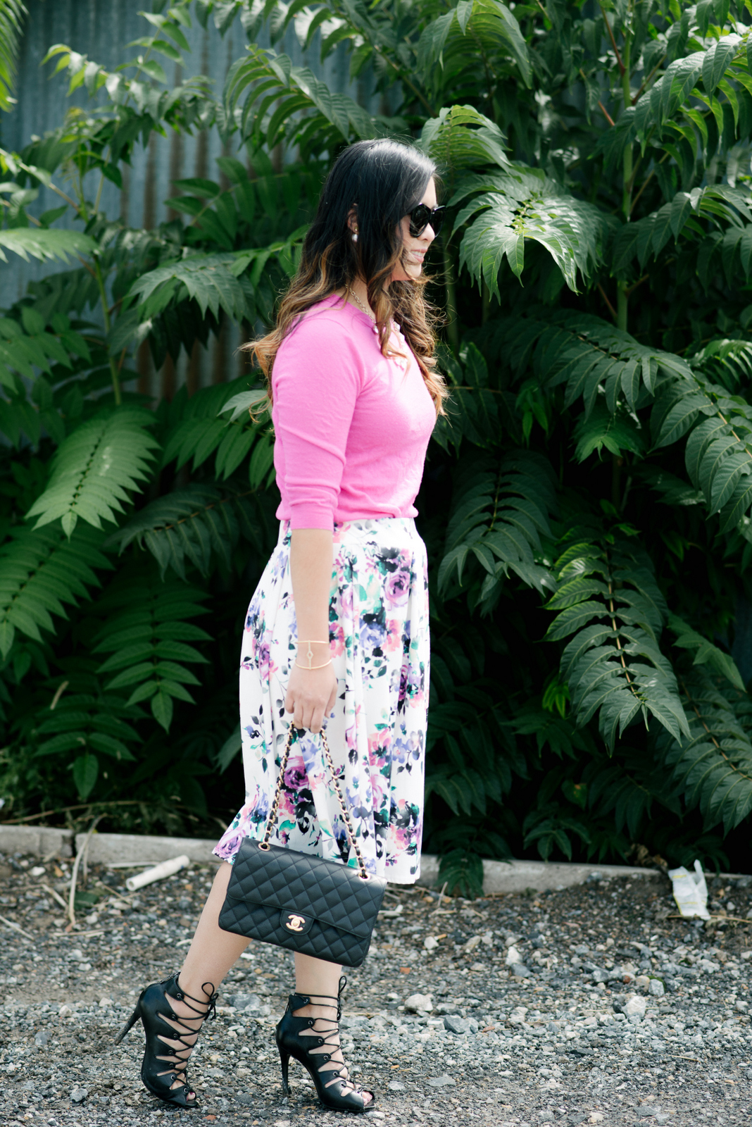 Floral skirt and lace up shoes