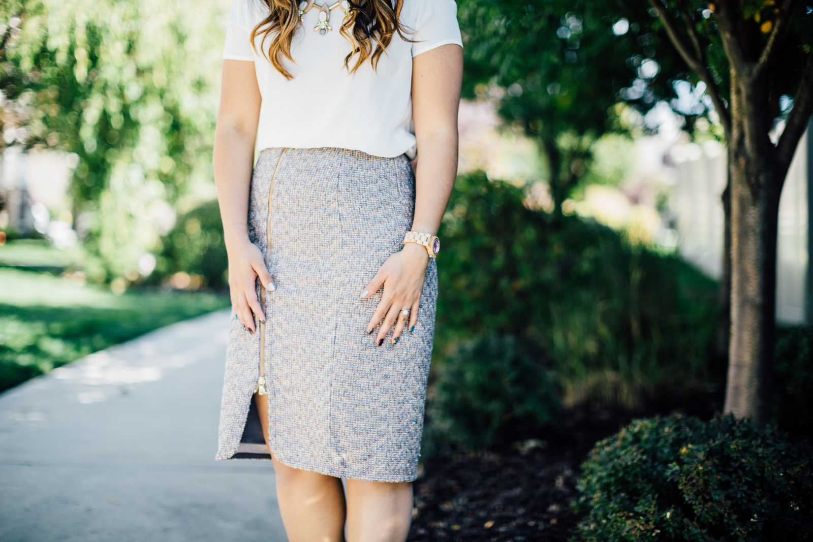 Fashion blogger wearing J.Crew tweed skirt