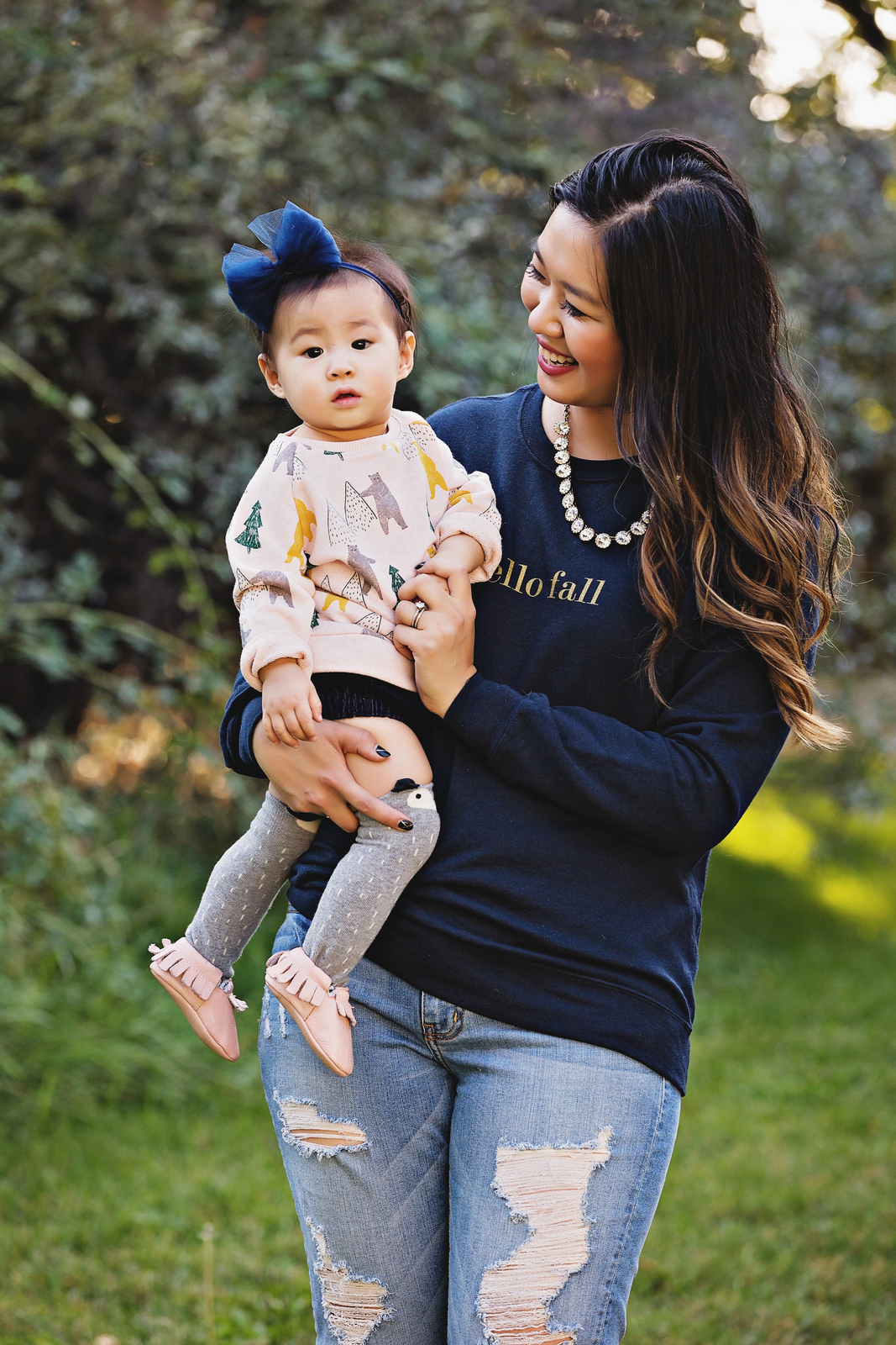 Mommy and me fall sweatshirt style