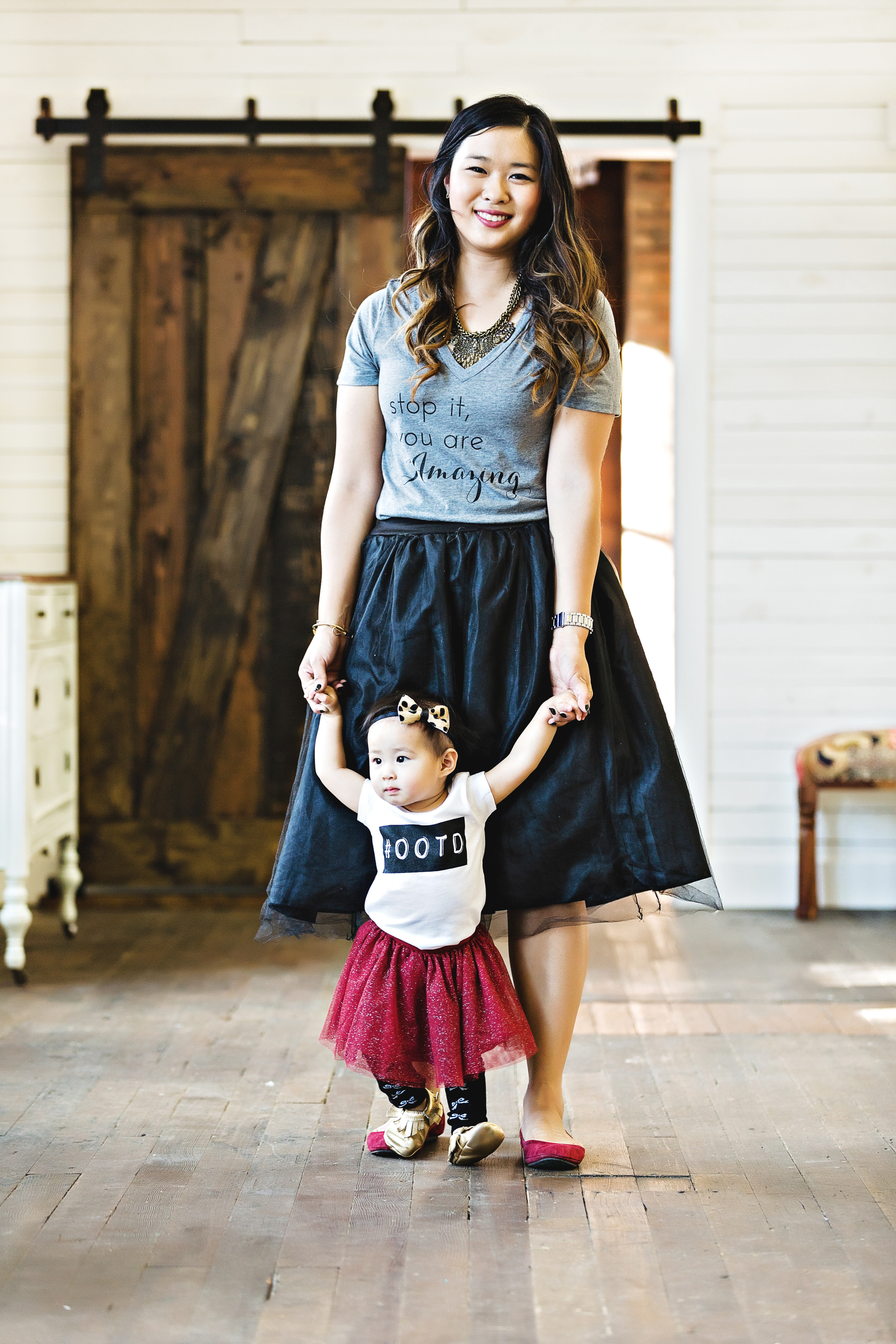 Mommy and me graphic tee and tulle skirts look