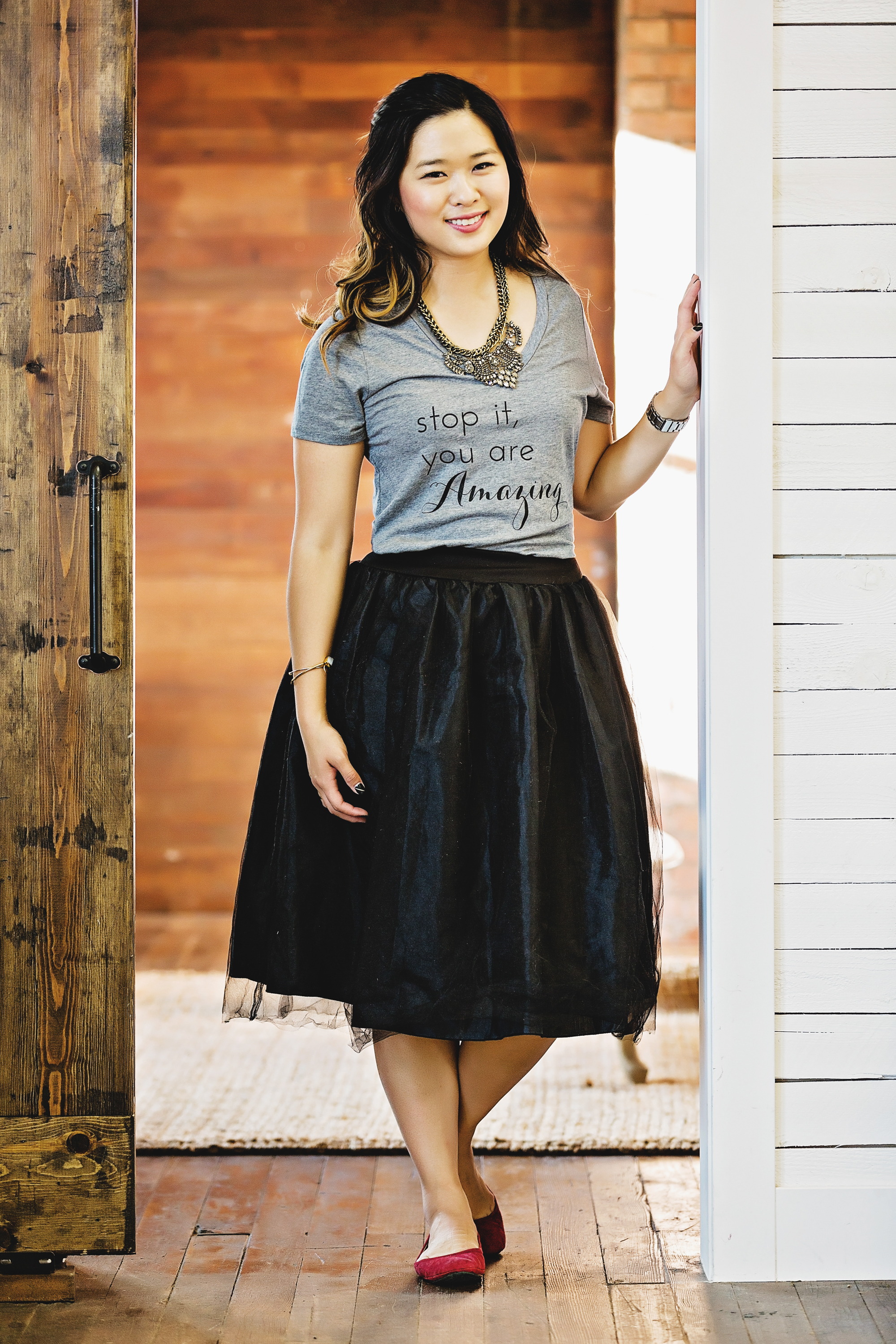 Graphic tee and tulle skirt
