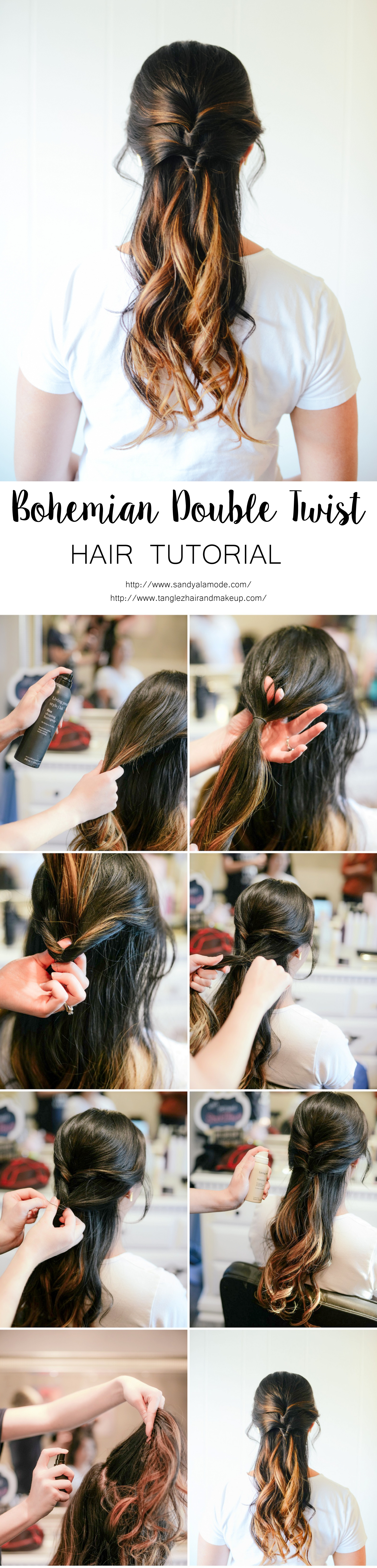 Bohemian Double Twist Hair Tutorial with blogger Sandy a la Mode, Hair Stylist Tanglez Hair and Makeup and Living Proof products