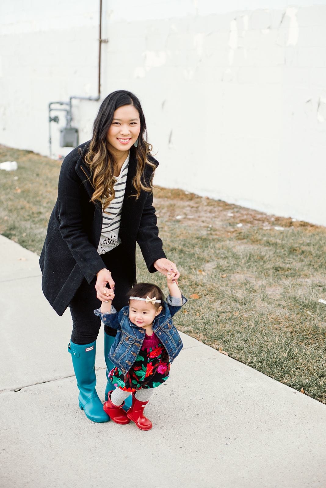 Mommy and me wearing Hunter boots