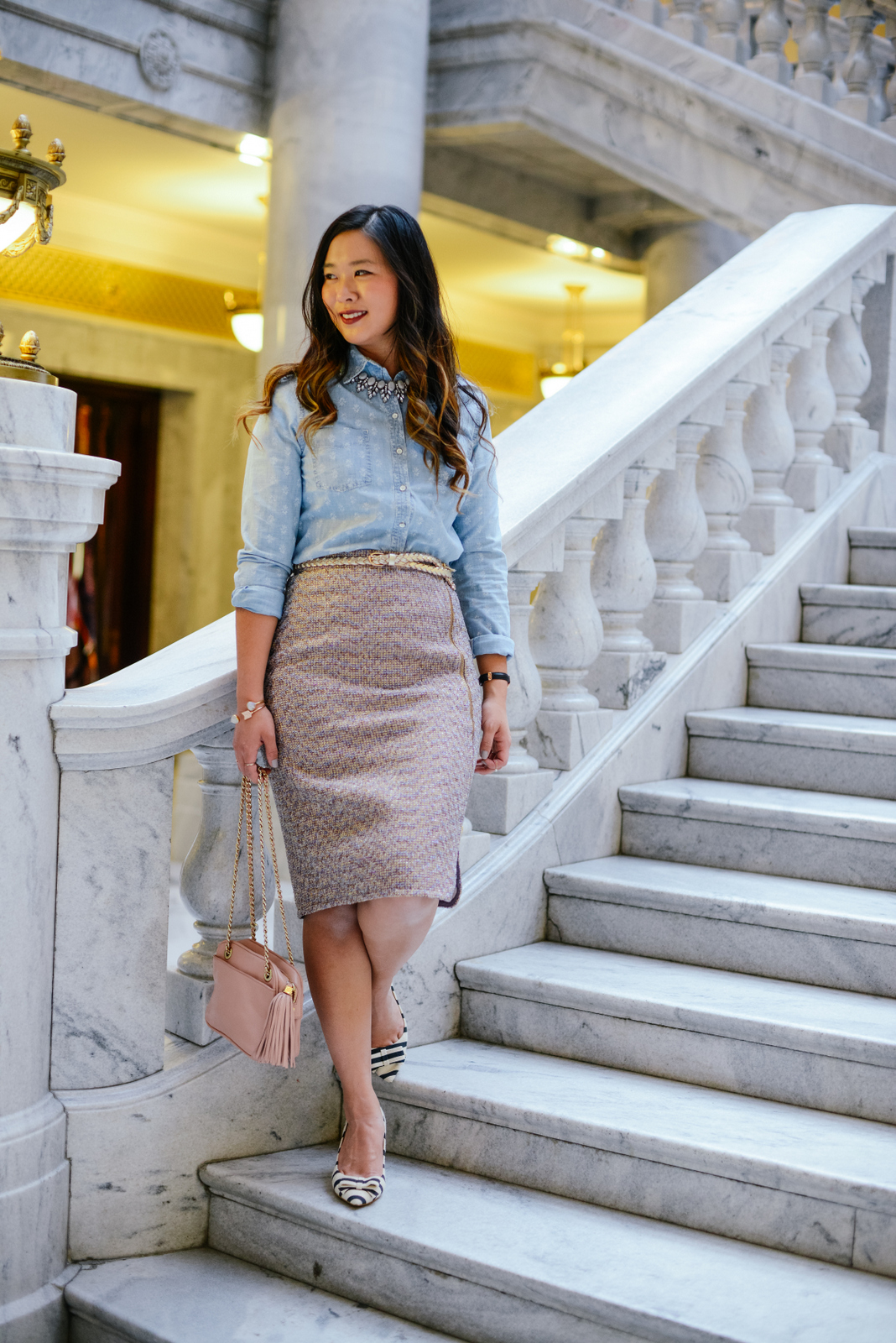 Chambray and Tweed Work outfit