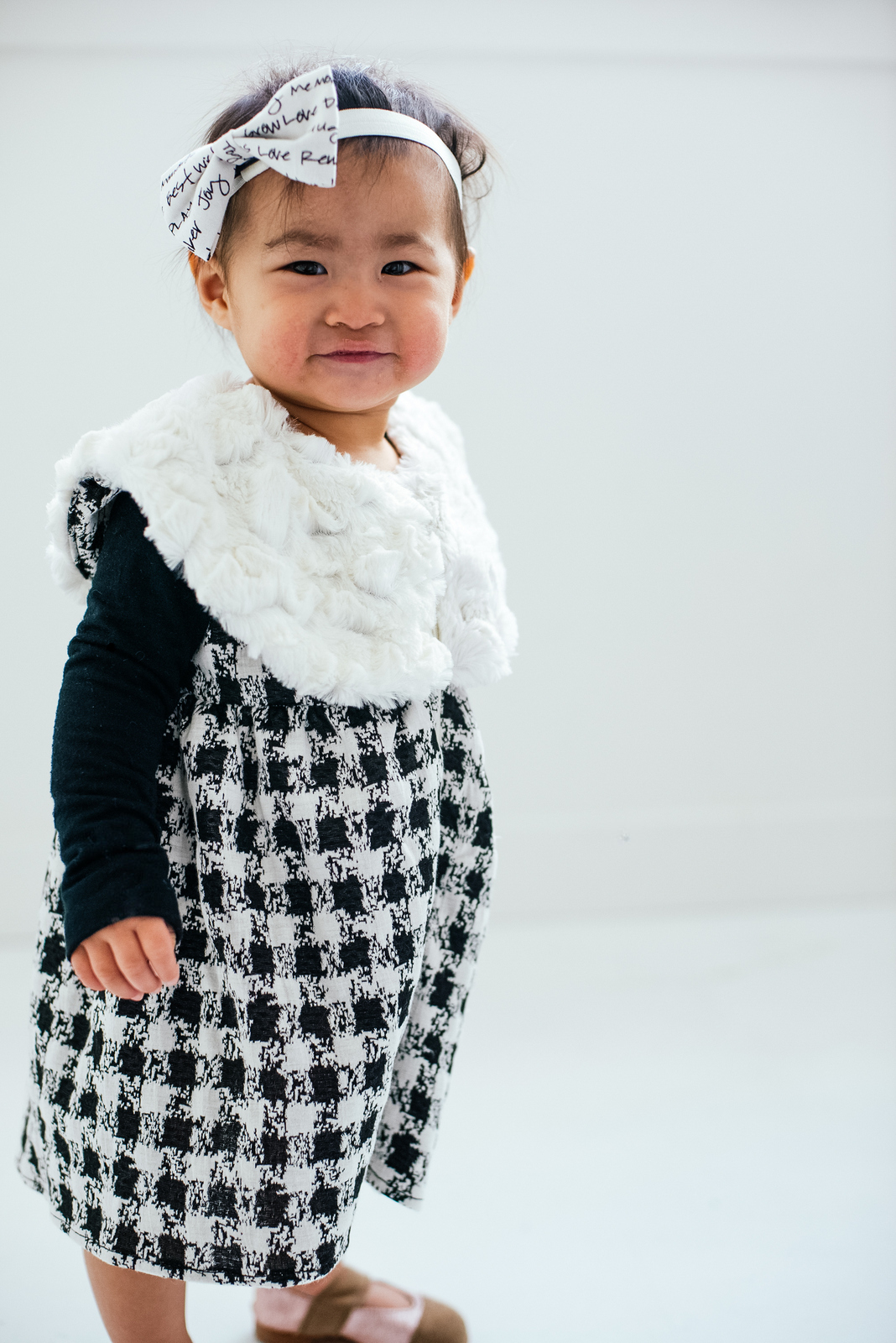 Black and white holiday dress for girls