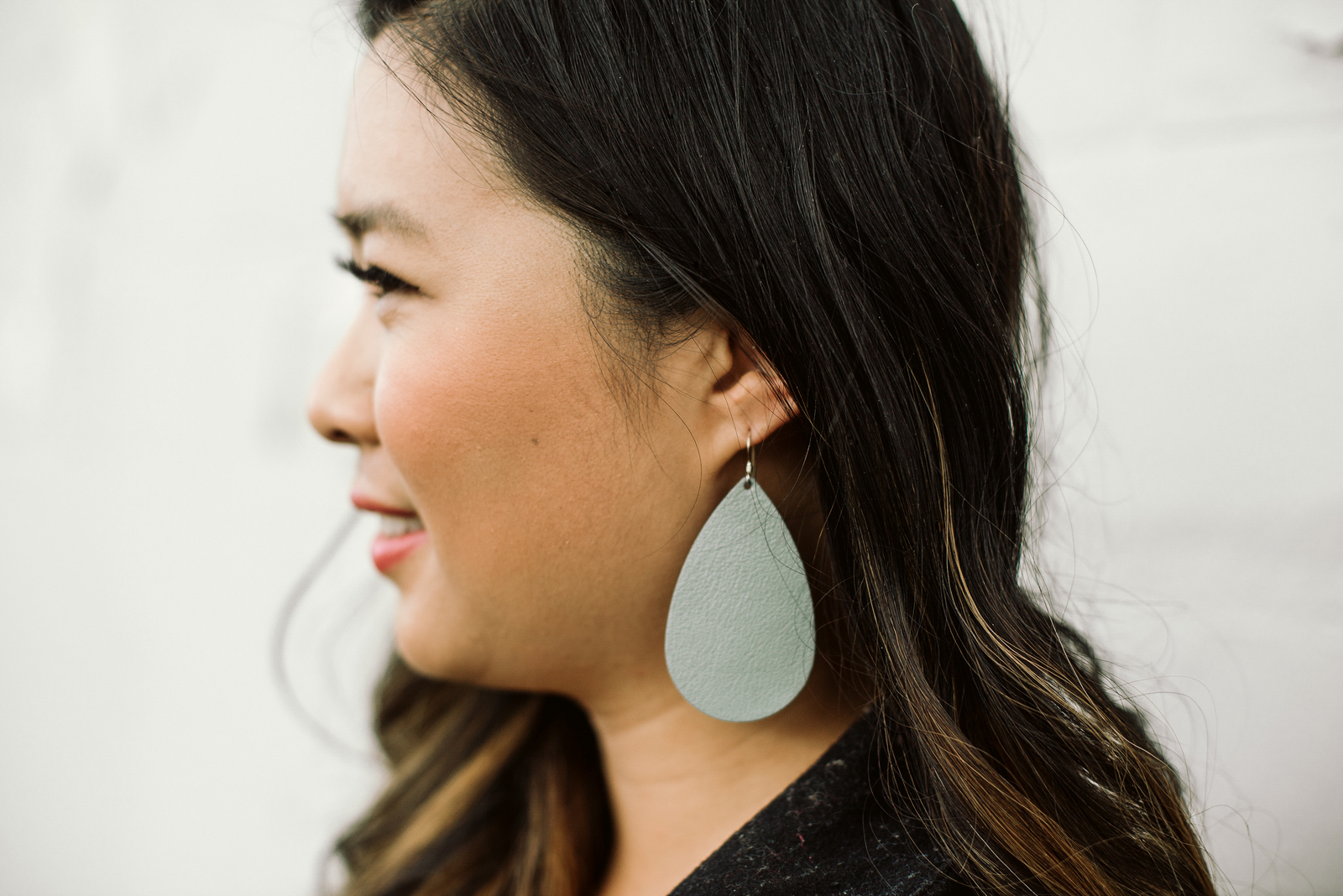 Nickel & Suede Gray Leather Earrings