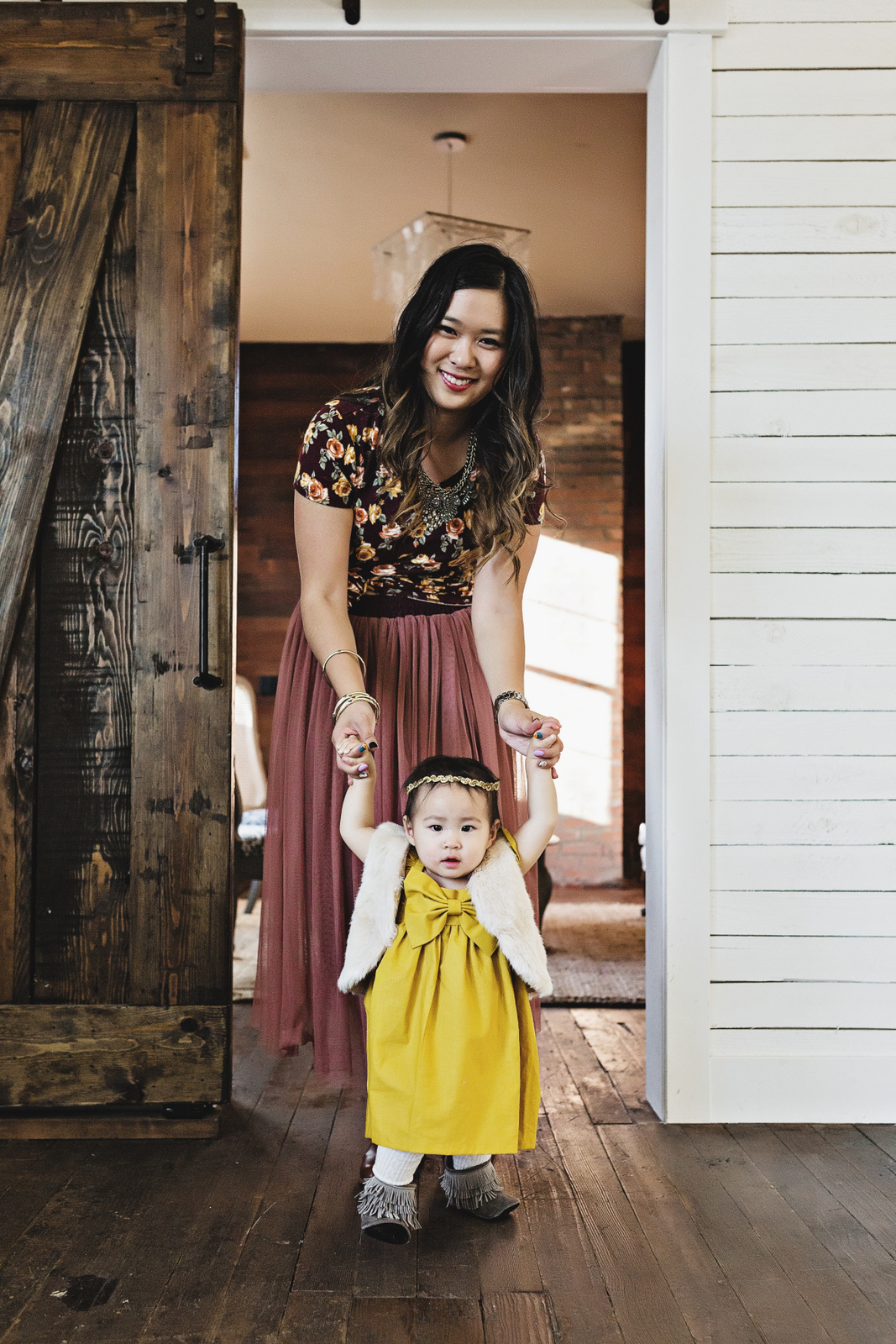 Florals and pretty dresses for a mommy and me outfit