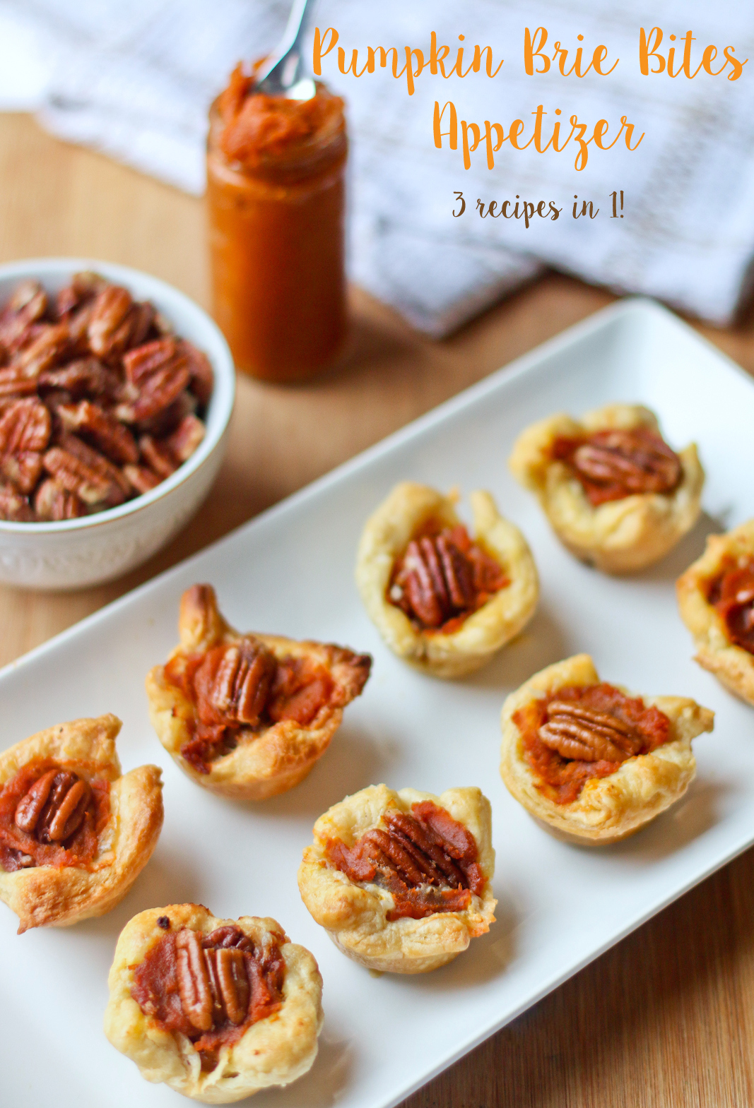 Pumpkin Brie Bites Appetizer Recipe - 3 recipes in 1, perfect for Thanksgiving!