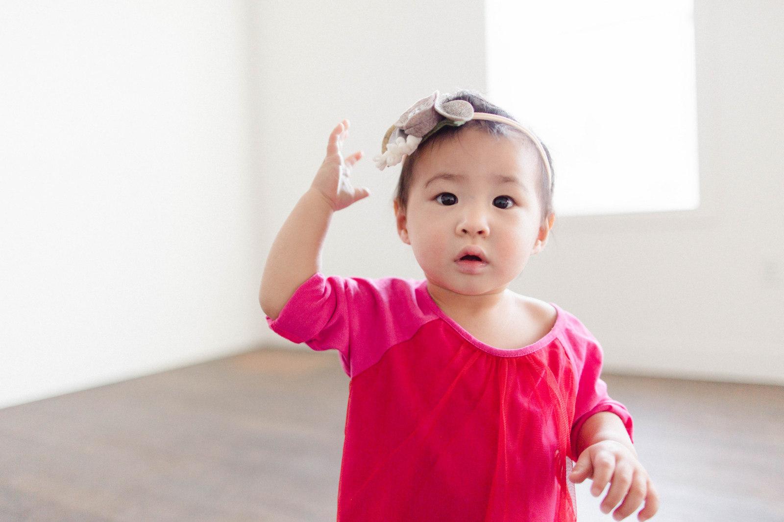 Baby girl in Garnet Hill dress