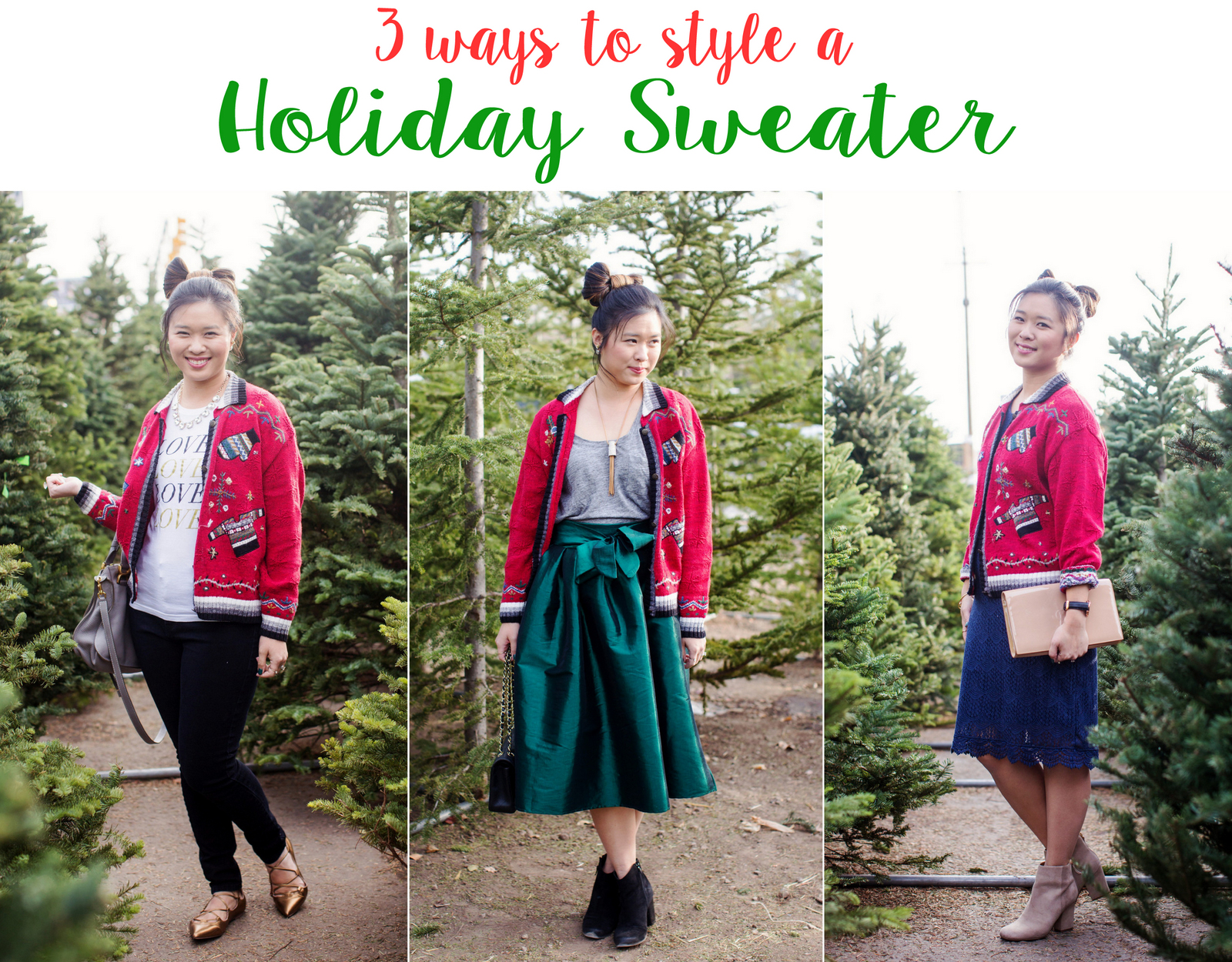 3 ways to style a holiday sweater