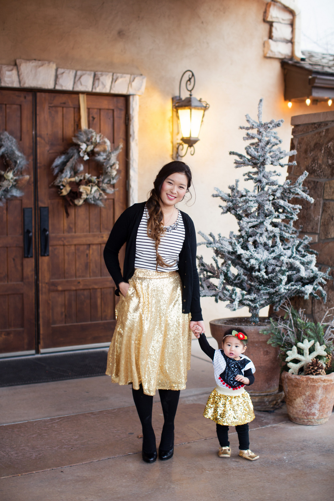 Mom and daughter sequin skirt style