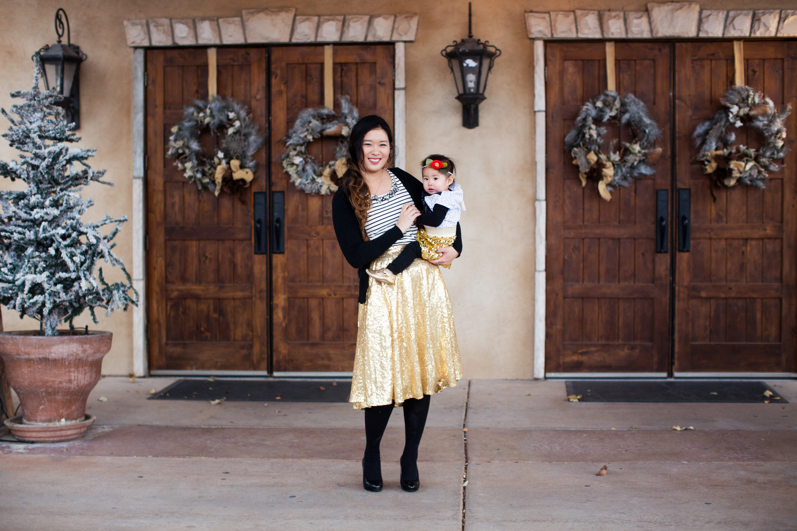 Mommy and me gold sequin skirts
