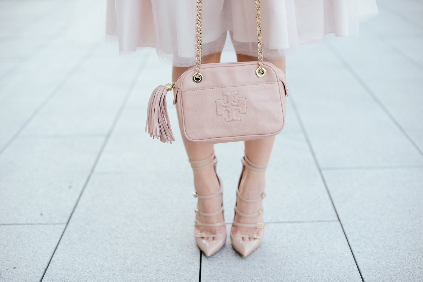 Blush and Neutral Holiday Outfit