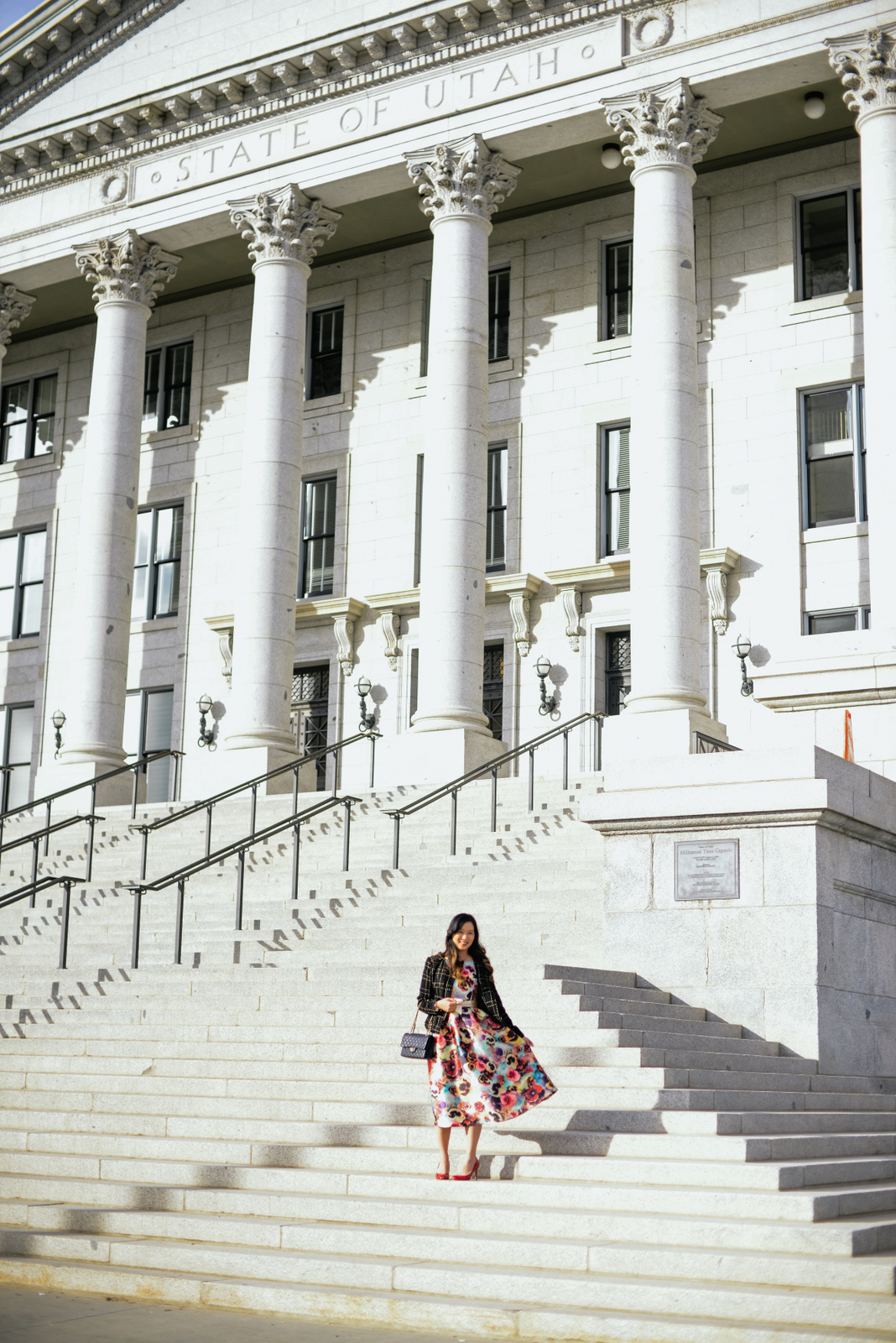 Outfit pictures at Utah State Capitol