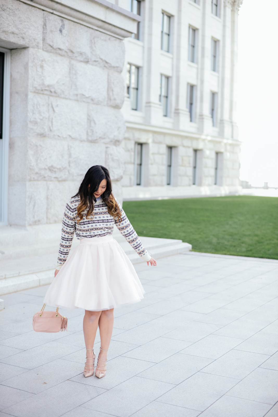 Blush and Neutral Holiday Outfit with Bliss Tulle skirt