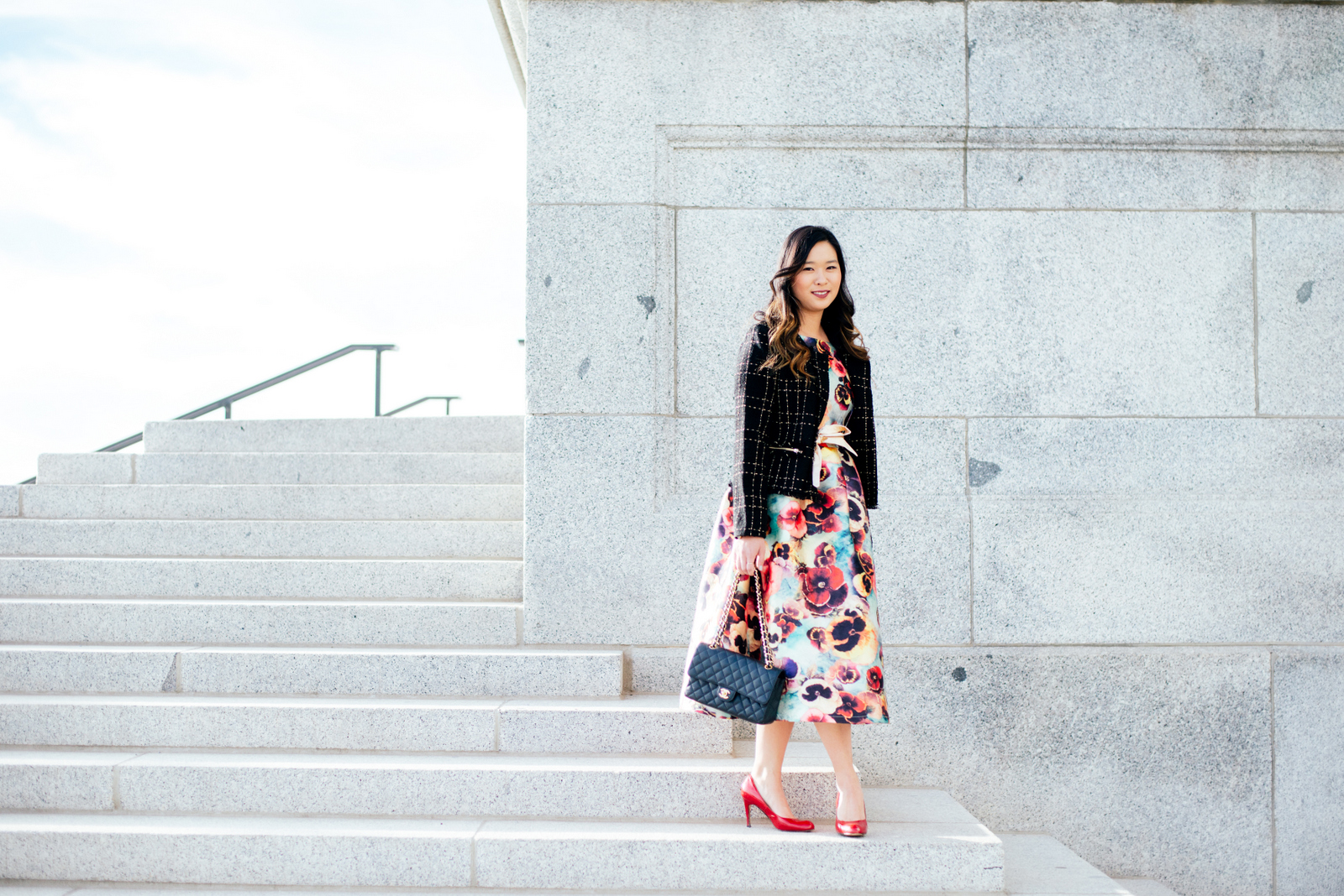 Floral dress and Chanel inspired jacket